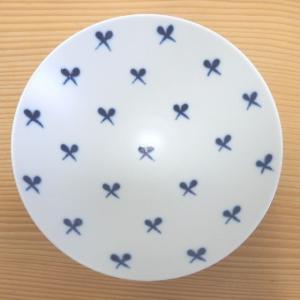 波佐見焼 白山陶器 平茶碗(白×紺 ストライプST16)|livingts