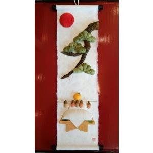 寿ぎ(ことほぎ)のつづり「鏡餅」正月飾り・ミニミニ掛け軸 livingts