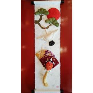 寿ぎ(ことほぎ)のつづり「鶴亀」正月飾り・ミニミニ掛け軸 livingts