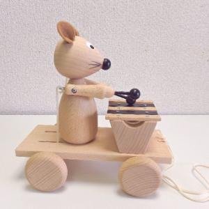 【MIVA】鉄琴をたたくネズミ チェコ製 木のおもちゃ 木製玩具 |livingts