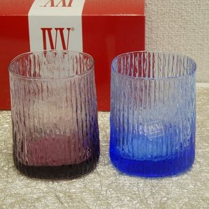 IVV イタリア製 グラス タンブラー Niagara ナイアガラ カラーコップ ペア 2個組 アメジスト ブルー livingts
