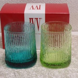 IVV イタリア製 グラス タンブラー Niagara ナイアガラ カラーコップ ペア 2個組 アシッドグリーン・ターコイズ|livingts