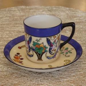 帰国オールドノリタケ・「果物籠・花鳥紋図デミタスカップ」1911年頃〜1941年頃 マルキ印 ・中古