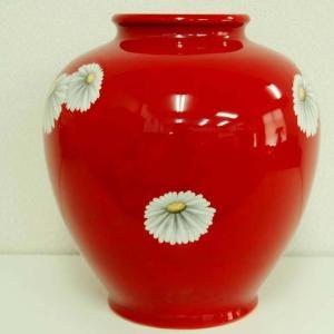 オールドノリタケ 日陶 花瓶 花柄 朱地白菊 花瓶 (大)高さ約27cm フラワーベース livingts