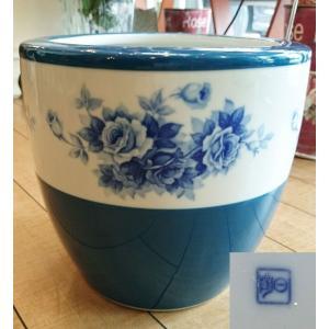 【則武】バラ紋「火鉢」 陶日印 昭和初期頃 日陶会社 花瓶 傘立て|livingts