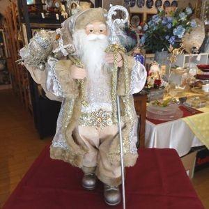 スタンディングサンタ 47cmサイズ/白ひげのサンタ/ベージュ/クリスマス飾り|livingts