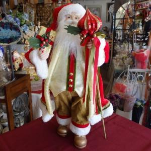 スタンディングサンタ 47cmサイズ/白ひげのサンタ/レッド/クリスマス飾り|livingts