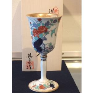 賞美堂 染錦牡丹文ワインカップ|livingts