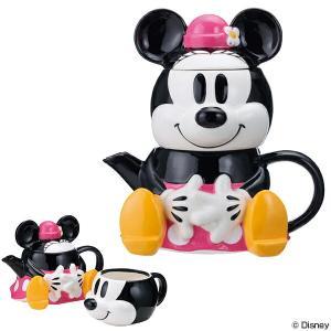 ティーポット カップ セット ミニーマウス 急須 陶器 食器 キャラクター ( 食洗機対応 コップ 電子レンジ対応 ミニー )|livingut