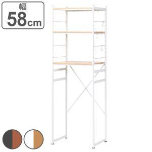 冷蔵庫ラック スチールフレーム 木目調天板 幅58cm ( キッチン収納 家電収納 ゴミ箱収納 冷蔵庫 電子レンジ ラック スチール 食器棚 棚 )の写真