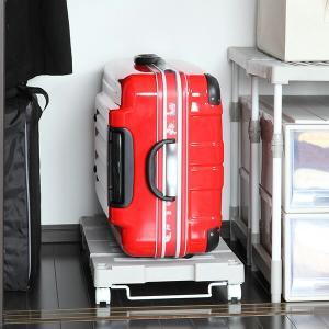 押入れ収納キャリー 幅54〜76×奥行37×高さ11cm 押入れ キャリー 台車 キャスター付き ( 押入れ収納 収納 平台車 すのこ 伸縮タイプ )|livingut