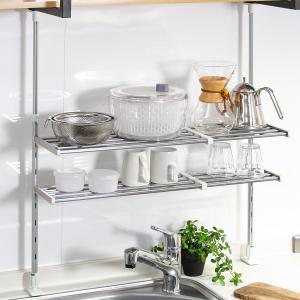 つっぱり棚 2段 伸縮式 幅50〜90cm ステンレス製 水切り棚 組立式 ( 水切りラック 突っ張り棚 ツッパリ棚 )|livingut