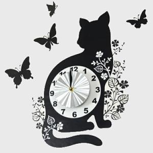 ウォールクロックステッカー ウォールステッカー 時計 猫 バタフライ Wall Clock Sticker