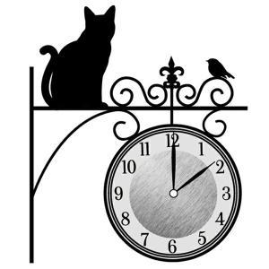 ウォールクロックステッカー ウォールステッカー 時計 猫 まちねこ Wall Clock Sticker