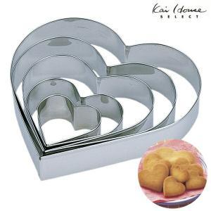クッキー型 ハート ステンレス製 抜き型 5個セット ( クッキー抜き型 クッキーカッター クッキー抜型 セット サイズ違い )|livingut