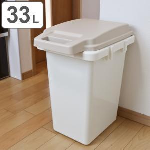 ゴミ箱 ワンハンドパッキンペール ふた付き 33L ( ごみ箱 屋外 ダストボックス 蓋 フタ 付き )の写真