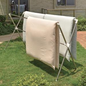 室内物干し PORISH 伸縮式布団干しX型S ステンレス ( X型 クロス型 部屋干し 物干しスタンド 洗濯物干し ハンガー )|livingut