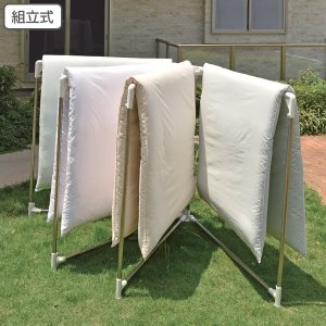 室内物干し PORISH 布団干し扇型4枚 ステンレス ( 布団干し 折りたたみ 洗濯物干し ふとん干し 部屋干し )|livingut