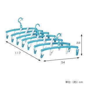 洗濯ハンガー 新設計 斜め干し らくらく伸縮ハンガー ピンチ28個付き 蛇腹式 ( ピンチからまない ピンチハンガー 洗濯用品 物干しハンガー ジャバラ )|livingut|02