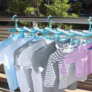 洗濯ハンガー 新設計 斜め干し らくらく伸縮7連ハンガー スライド付き 蛇腹式 ( 首がのびない シャツハンガー ジャバラ  )|livingut