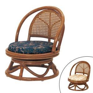 籐 ラタン コンパクト回転座椅子 ミドルタイプ ( 送料無料 座椅子 チェア 椅子 )|livingut