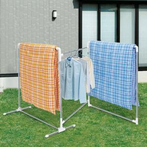 布団干し 折りたたみ式ふとんほし 3枚干しタイプ ステンレス ( 折りたたみ 洗濯物干し ふとん干し 室内干し 部屋干し )|livingut