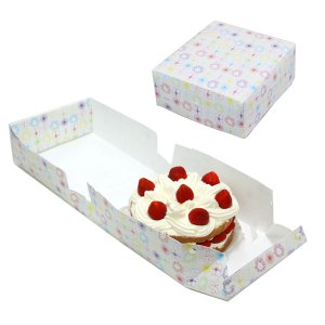 ケーキボックス ケーキ型 フラット 18cm用 フラワー 日本製 ( お菓子 ラッピング デコレーションケーキ 箱 製菓グッズ )|livingut|02