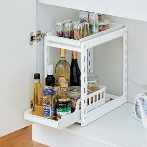 収納棚 ファビエ スライド式2段ラック 250浅深 組立式 ( シンク下収納 キッチン収納 収納棚 整理棚 )|livingut