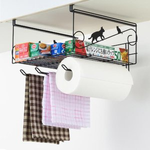 収納ラック ネコの吊り戸棚下ラック スチール製 吊り戸棚下収納 ( 吊下げラック 吊り戸棚下 ワイヤーボックス )|livingut