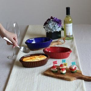 グラタン皿 18cm 洋食器 オーバル ギャザー ( 1人用 楕円 陶器 電子レンジ オーブン )|livingut