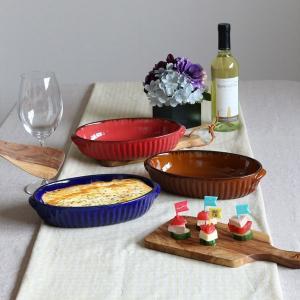 グラタン皿 24cm 洋食器 オーバル ギャザー ( 大皿 楕円 陶器 電子レンジ オーブン )|livingut