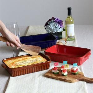 ラザニア皿 28cm 洋食器 スクエア ギャザー ( 大皿 陶器 電子レンジ オーブン ) livingut