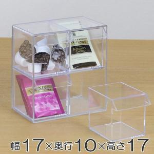 小物入れ 引き出し ミニ プラスチック クリア 卓上 透明 収納 2段×2列 デスコシリーズ ( 小物収納 小物ケース コレクションケース )の画像