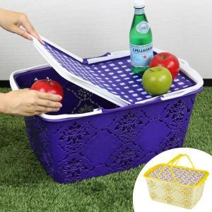 フタ付きで簡易テーブルになる便利なバスケットです。収納とテーブルを兼ねているのでお出かけ時の荷物が減...