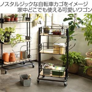 キッチンワゴン 3段 カゴ型 スチールフレーム 幅44.5cm ( キッチンラック キッチン 収納 ラック )|livingut|02