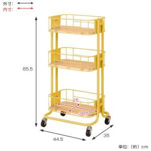 キッチンワゴン 3段 カゴ型 スチールフレーム 幅44.5cm ( キッチンラック キッチン 収納 ラック )|livingut|04