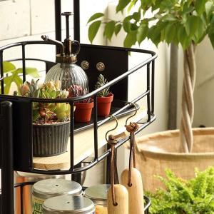 キッチンワゴン 3段 カゴ型 スチールフレーム 幅44.5cm ( キッチンラック キッチン 収納 ラック )|livingut|05