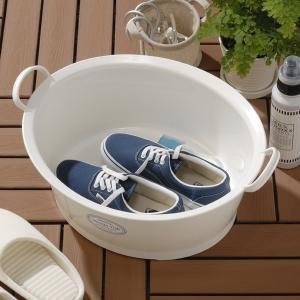 ウォッシュタブ 12L タライ 洗濯用 排水栓付き 楕円形 オーバル型 洗い桶 持ち手付き ( たらい バケツ バスケット )|livingut|08
