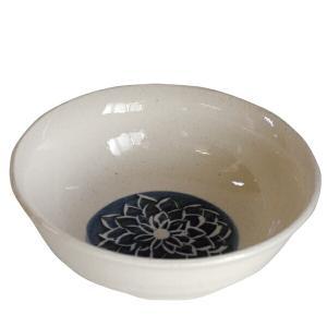 小鉢 萬古焼 藍染め ダリア とんすい 日本製 ( 鍋皿 器 和皿 ) livingut