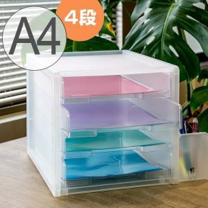 レタートレー A4 4段 半透明 squ+ ナチュラ ソーフィス ( 収納 デスクトレー レタートレ...
