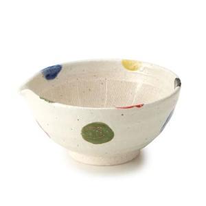 すり鉢 5号 17cm 片口 水玉 和食器 陶器 日本製 ( 注ぎ口 食器 ボウル 器 鉢 小鉢 電子レンジ対応 食洗機対応 )|livingut
