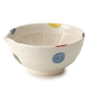 すり鉢 6号 20cm 片口 水玉 和食器 陶器 日本製 ( 注ぎ口 食器 ボウル 器 鉢 小鉢 電子レンジ対応 食洗機対応 )|livingut