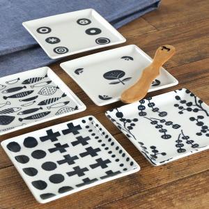 正角皿 13cm ブロックプリント 北欧 美濃焼 食器 小皿 磁器 ( 食洗機対応 器 電子レンジ対応 角皿 おしゃれ 和食器 皿 )|livingut