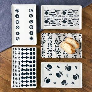 長角皿 26cm ブロックプリント 北欧 美濃焼 食器 中皿 磁器 ( 食洗機対応 器 電子レンジ対応 角皿 おしゃれ 和食器 皿 )|livingut