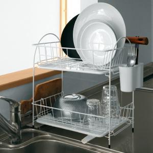 水切りラック 水切りバスケット 2段 ホワイト ブランス Blance ( 水切りカゴ 水切りバスケット ディッシュラック )|livingut