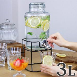 ドリンクサーバー3L スタンド付 ガラス 蛇口付き ( 梅酒 果実酒 ウォーターサーバー ガラス瓶 ガラス製 瓶 )|livingut