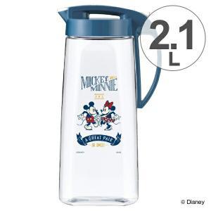 ピッチャー 冷水筒 2.1L ミッキーマウス ヴィンテージスタイル 耐熱 縦置き 横置き ( ワンタッチ プッシュ式 冷水ポット 麦茶ポット 水差し ジャグ )|livingut