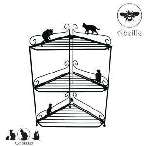 キッチンコーナーラック Abeille (アベイユ) コーナーラック ネコ ブラック ( コンロラック キッチンラック 収納ラック ) livingut