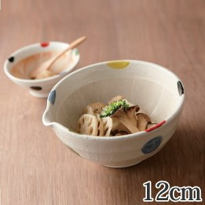 すり鉢 4号 12cm 片口 水玉 和食器 陶器 日本製 ( 注ぎ口 食器 ボウル 器 鉢 小鉢 電子レンジ対応 食洗機対応 )|livingut