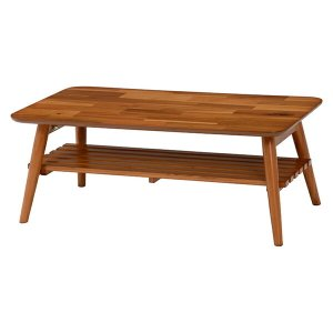 ローテーブル 折れ脚テーブル 棚付 アカシア 幅90cm ( 完成品 天然木 センターテーブル ちゃぶ台 机 )|livingut